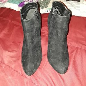 Shoes - Black Suede Bootie Heels